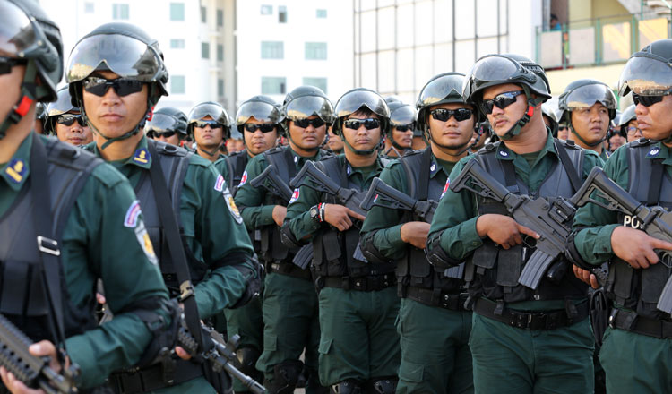 Military police officers patrol Phnom Penh ahead of last year's general election. KT/Chor Sokunthea