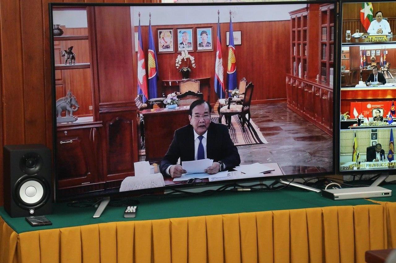 H.E. Prak Sokhonn Joins ACC Meeting On COVID-19 Via Video Conference