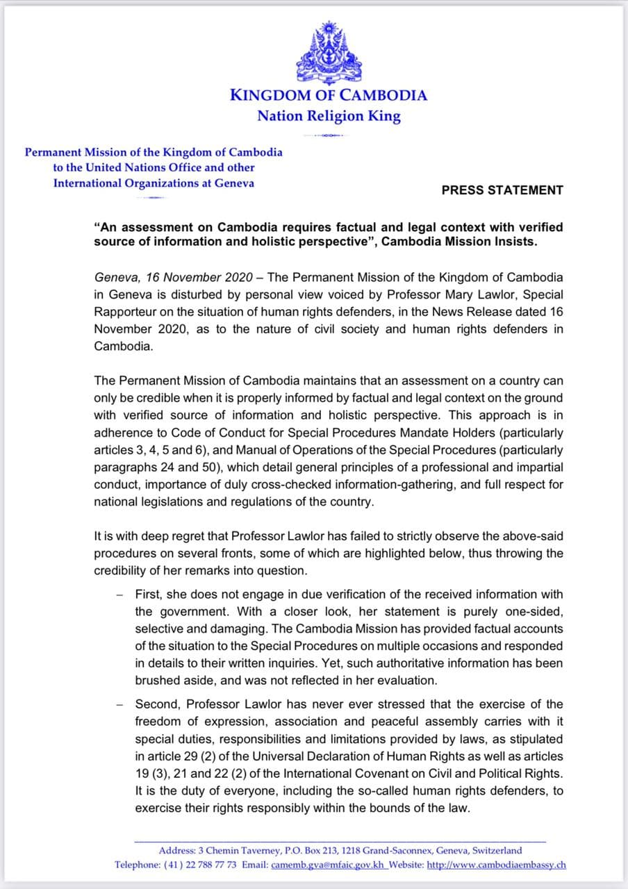 Cambodian Permanent Mission In Geneva: An Assessment On Cambodia Requires Factual And Legal Context