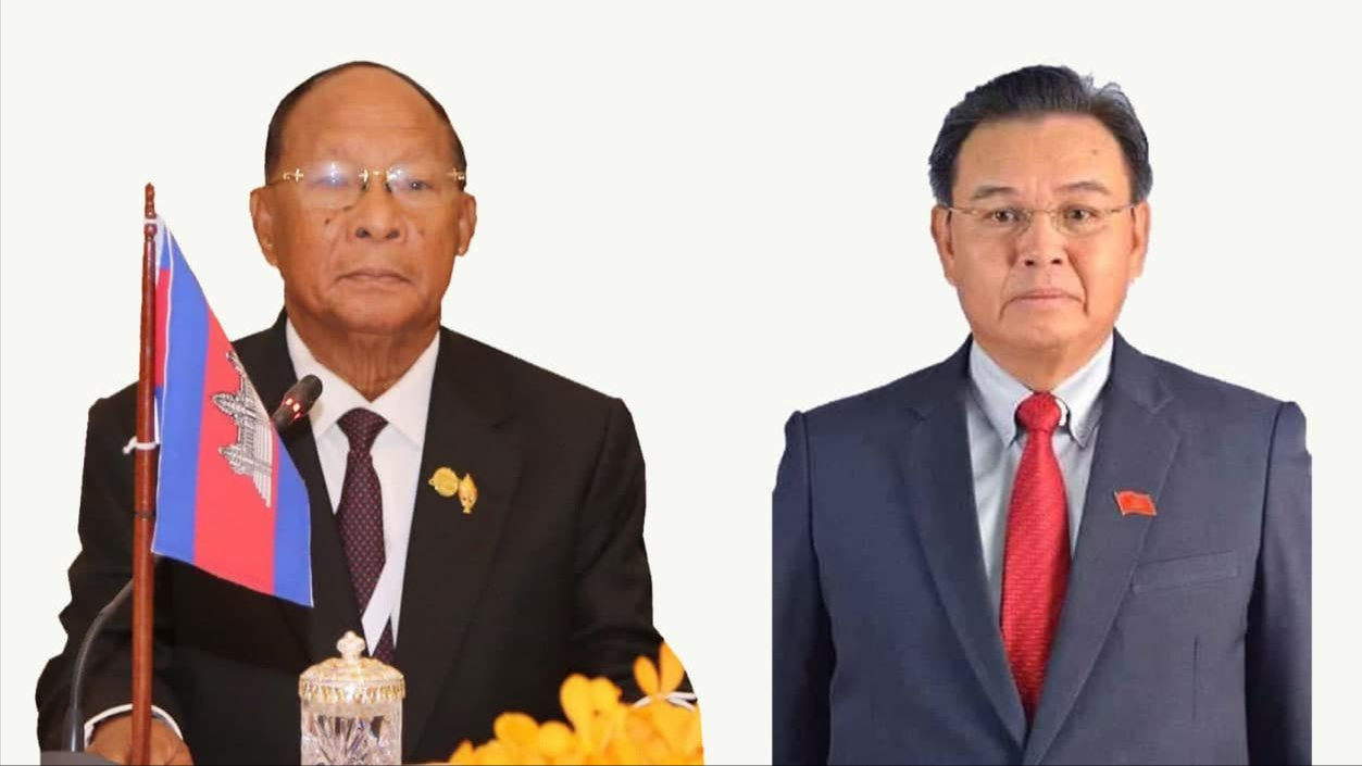 Cambodian National Assembly President Congratulates His Lao Counterpart